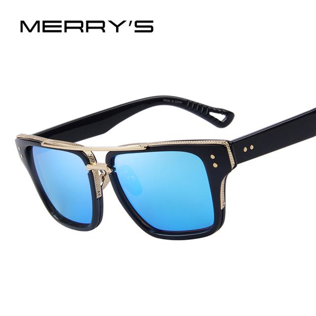 MERRY'S Мода Мужчины Квадратные Очки Женщины Заклепки Солнцезащитные очки Классический ...