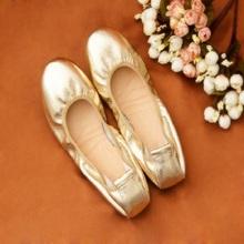 Brands Gold Silver Flat Shoes Women Sheepskin Pregnant Women Low Heel Ballet Shoes Chaussures Femmes Hot sales Women Flats(China (Mainland))