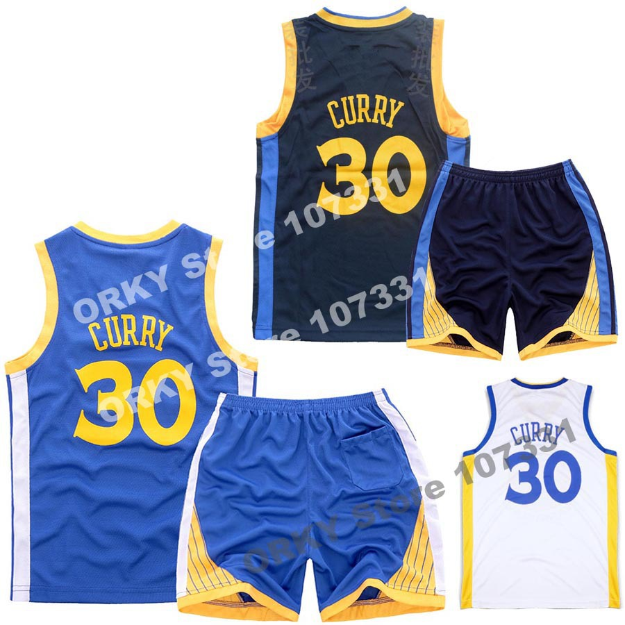 NEW Quality Children Basketball Jerseys 2015 Golden State #30 Stephen Curry Blue white Kids  youth boys basketball training Sets(China (Mainland))