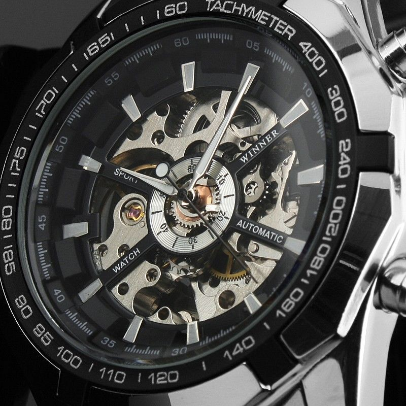 Famous Brand Winner Watches Mens Fashion Luxury Watch Clock male Casual Full Stainless Steel Automatic Watch Men Wristwatches(China (Mainland))