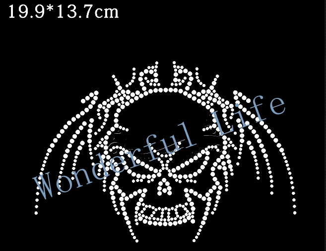 YX Free shipping rhinestone motif transfer image for cloth in China market in white clear crystal cool skull item shining(China (Mainland))