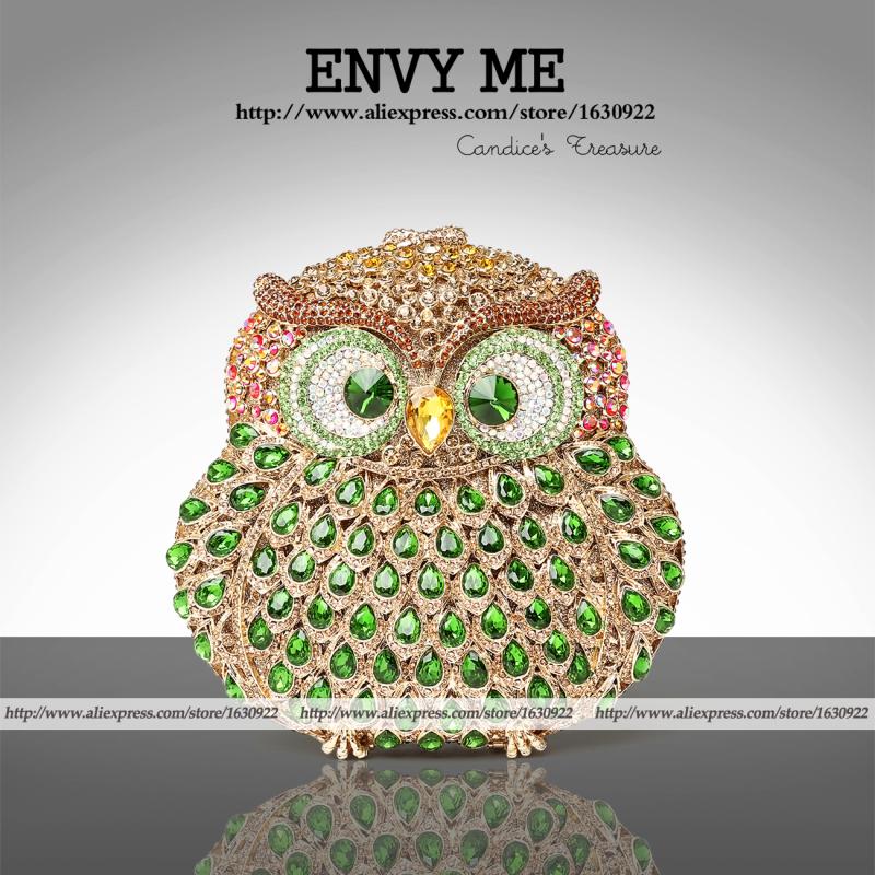 OWL Bag Mini Crysal Clutch bolsa coruja Diamond Ladies Wallet  OWL Rhinestone Evening Bag <br>