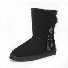 2018 kalite güvencesi, koyun derisi, yün, bir kar botları kadın buzağı yüksekliği kış düz dipli sıcak çizmeler, ücretsiz kargo(China)