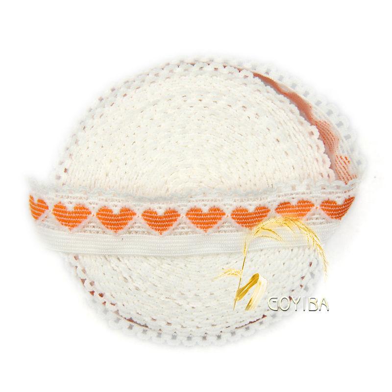 GOYIBA 5 Yard Orange Heart White Spandex Patchwork Lace FOE Foldover Elastics Baby Hairband Headband Trims Sewing Notions Supply(China (Mainland))