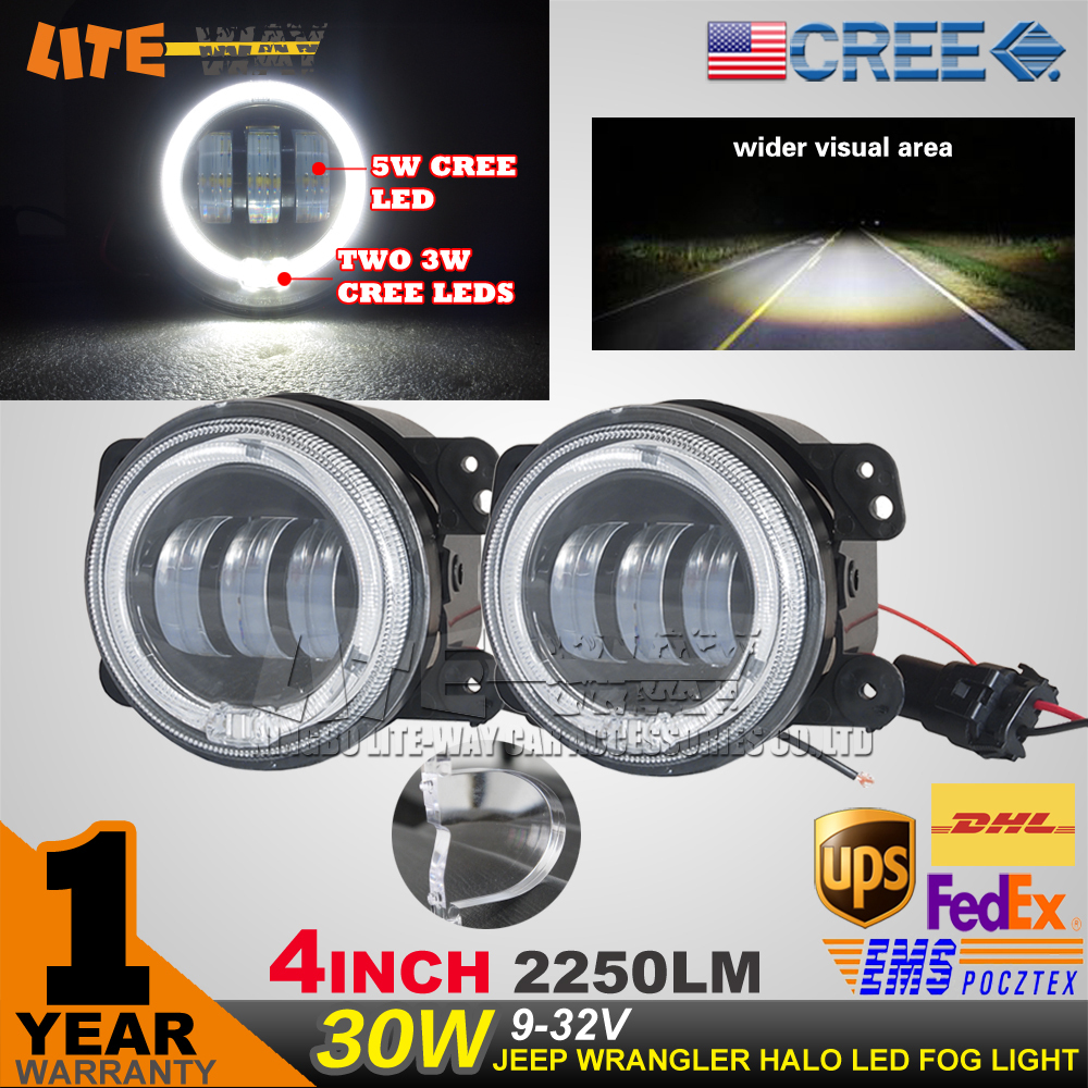 Pair 4 inch 30w CREE led fog light flood beam for Jeep and Dodge 12v and 24v<br><br>Aliexpress