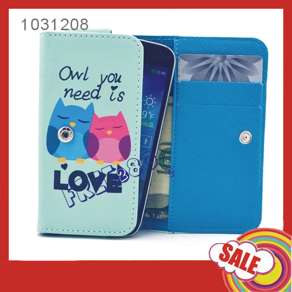 Universal 12.3*6.5*2cm Owl Pattern Clutch Bag PU Leather Case Wallet Cover For iphone 3g 3gs / touch 4(China (Mainland))