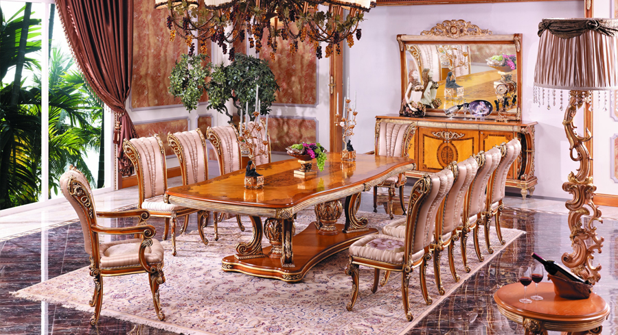 luxury European style woodcarving rectangular dining table(China (Mainland))