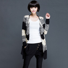 New Arrival Women Knitted Stripe Cardigan Thin Jacket Long Sleeve Knitewear Sweater Casual Design Long Top Spring&Autumn Jumper(China (Mainland))