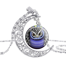 2017 Hot Necklace Beautiful Round Glass Animal Pendant Necklaces Owl Moon Silver Chain Jewelry Accessories High Quality Gift S29(China (Mainland))