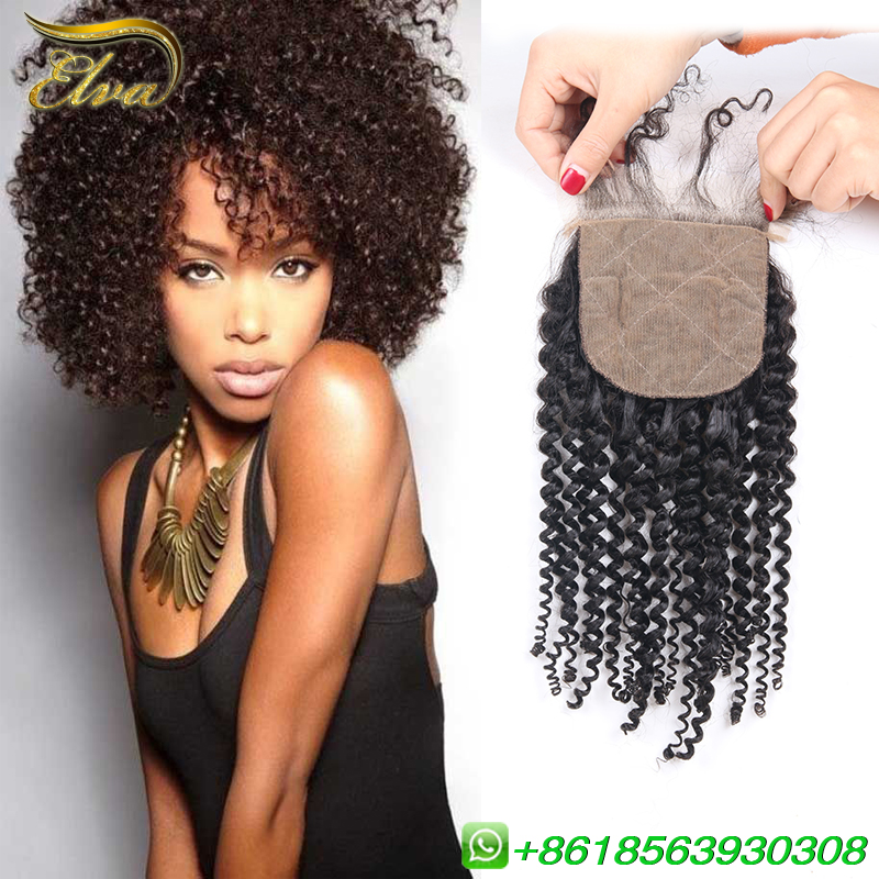 Brazilian Kinky Curly Silk Base Closure 4x4 Silk Top Closure Free/Middle/3 Part Closure Bleached Knots Virgin Human Hair Closure