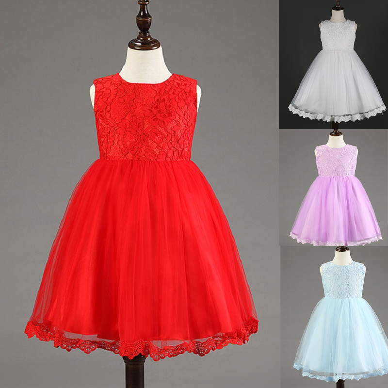 2015 white red pink flower girl dresses kids formal clothing for wedding party ball gown princess dress with big bow<br><br>Aliexpress