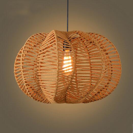 Edison Bulb American Rural Retro Pendant Lamps Creative Pumpkin Hemp Rope Weave Pendant Light(China (Mainland))