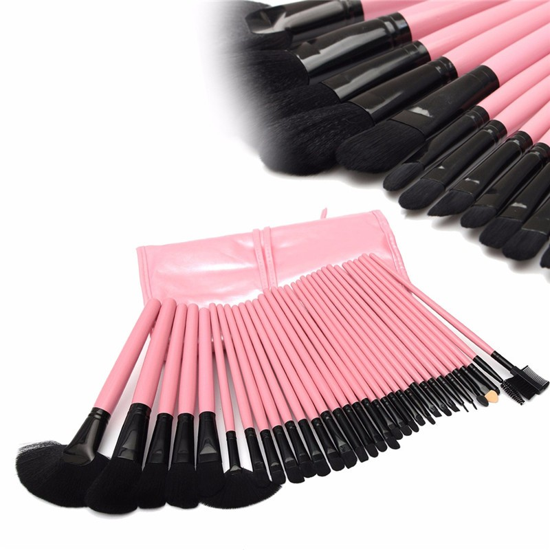 32 Pcs Pink Handle Black Head Brushes Make Up Cosmetic Tools Woman Professional Soft Set Kit Pouch Pink Bag Leather Goat Case(China (Mainland))