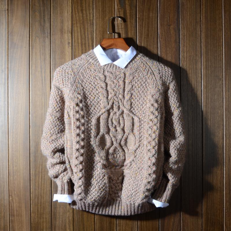 Argyle Sweater Men Thick Warm O neck Long Sleeve Knitting Patterns Men Pullov...