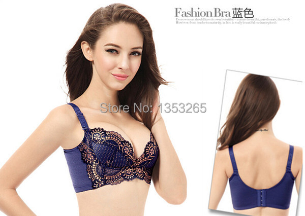 Perfumes and fragrances of brand originals sexy push up women bra wire free lace bra 3/4 cup B to E 32 to 40 4 colors available(China (Mainland))
