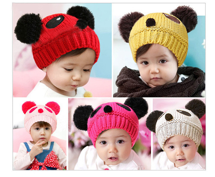Free shipping Children warm hat knitting wool hat cartoon panda 7 colors for five months to 4 years old baby hat(China (Mainland))