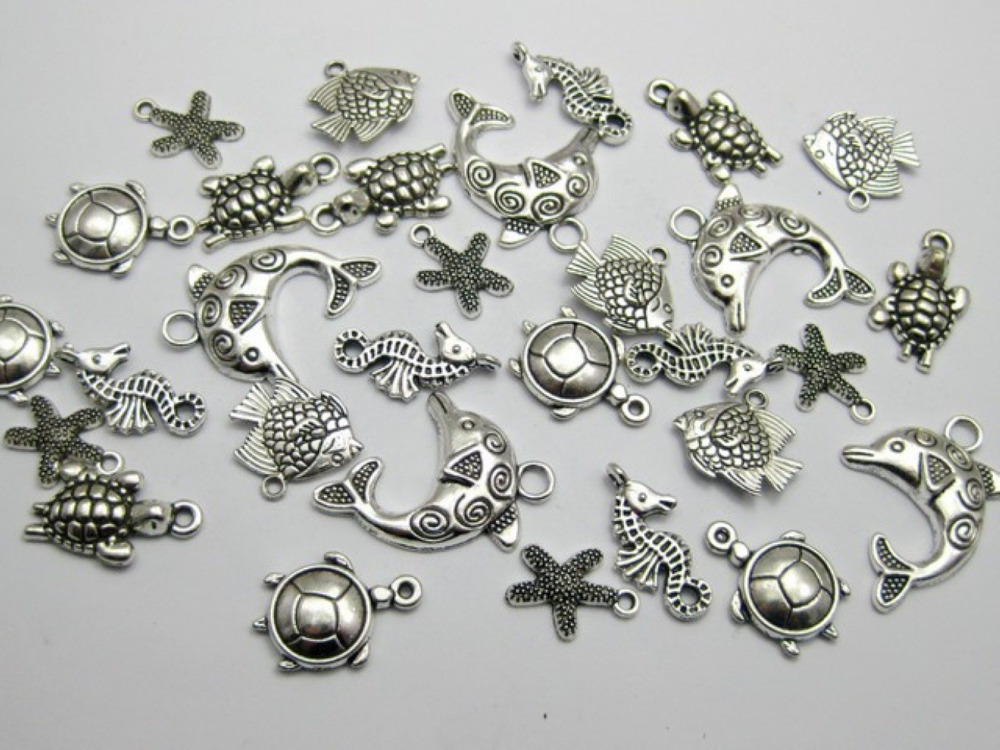 40 Assorted Tibet Silver Ocean Fish &amp; Sea Animal Charm Pendants<br><br>Aliexpress