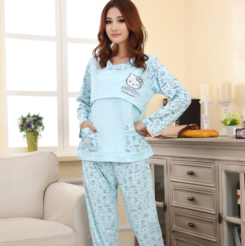 Spring and autumn female maternity sleepwear nursing clothes 100% cotton long-sleeve sleepwear set for pregnant woman<br><br>Aliexpress