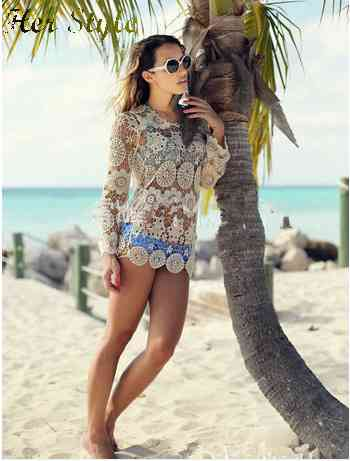Free Shipping new 2015 lace openwork flower knit smock dresses Beach 1431963241(China (Mainland))