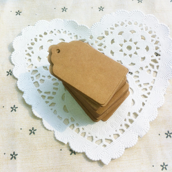 P001 5*3cm Antique Kraft Paper Gift Cards/Tags with Swirl Edges for Wedding Decoration/DIY Card Making/Scrapbooking Paper Crafts(China (Mainland))