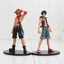 2pcs/set 17cm Anime One Piece Luffy + Ace PVC Action Figure Model Toys(China (Mainland))