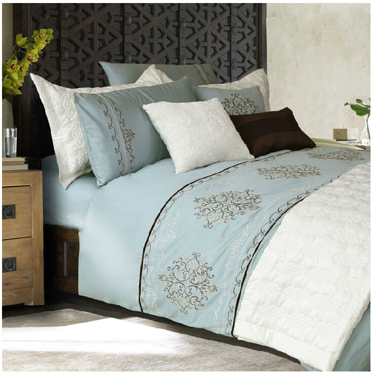 Free Shipping! Adream 100% Cotton Bedding Set Embroidery Duvet Cover Queen Comforter 3pcs Blue(China (Mainland))