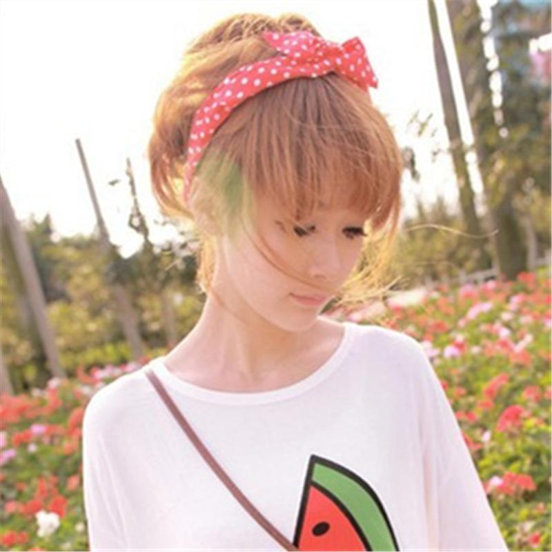 1Pcs Cute Korean Dots Bunny Rabbit Ear Ribbon Headwear Hairband Metal Wire Scarf Headband Hair Band Accessories 20 Colors(China (Mainland))