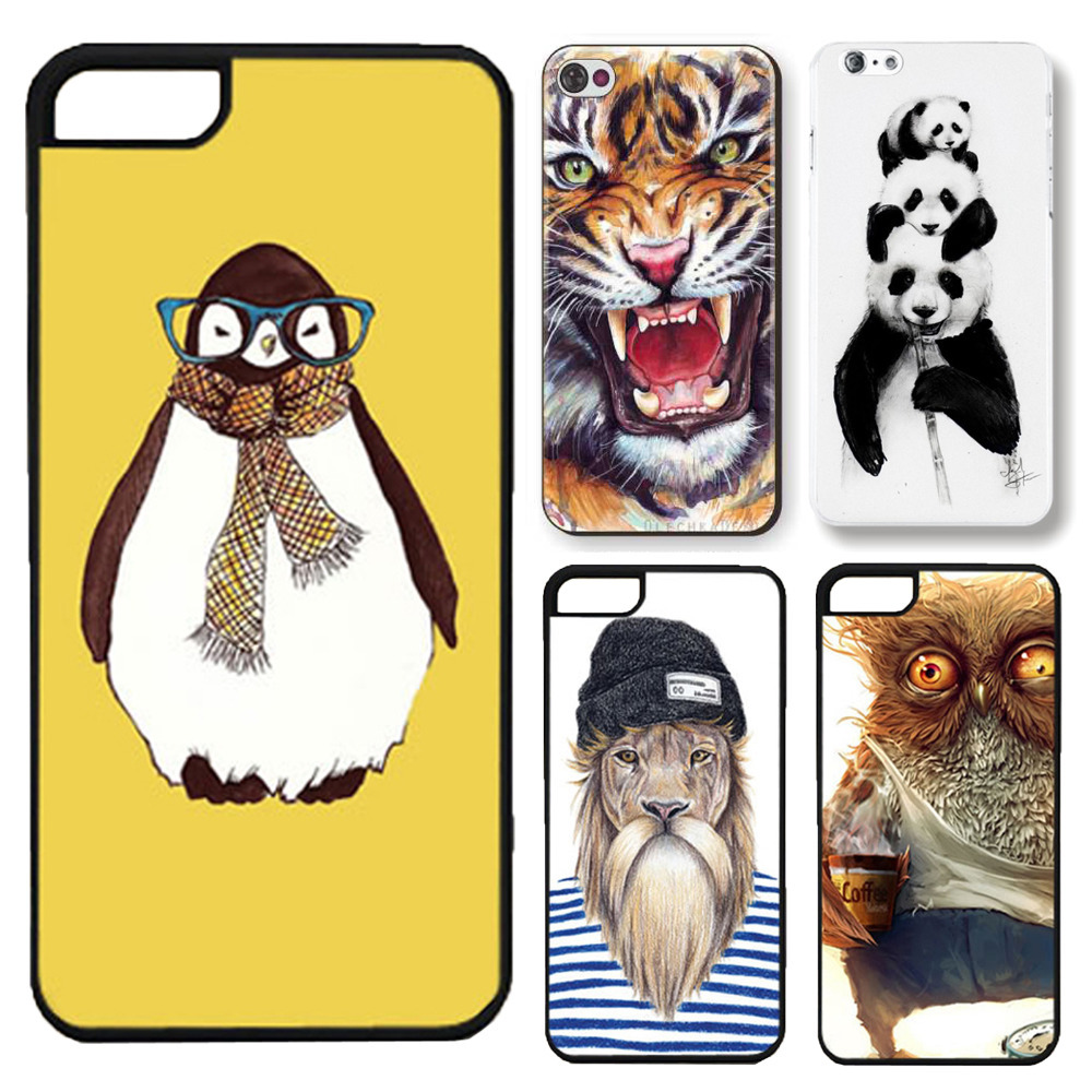 Fashion 3D Cute Animal Panda Tiger Owl Cartoon Painted Case for Apple iphone 5 5s Plastic Hard Cell phone Case Cover(China (Mainland))