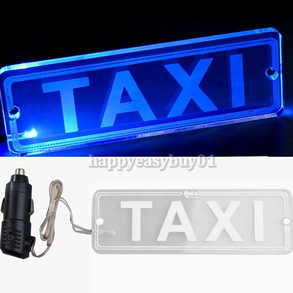 Blue LED Transparent PMMA TAXI Board Neon Light Lamp with Car Charger 12V H1E1(China (Mainland))