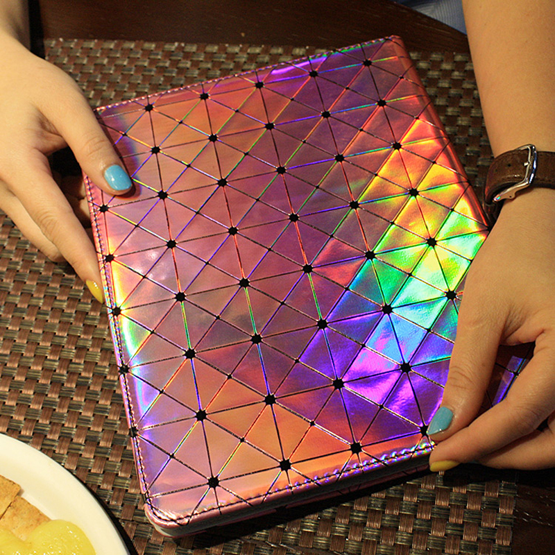 Fashion Classic Bling Shine Laser Grid PU Leather Case For Ipadmin 1/2/3 Ipad 2/3/4 Ipad Air Cover Screen Protector+Touch Pen(China (Mainland))