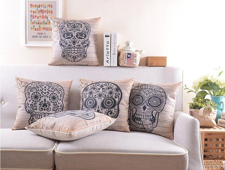 """18 """" crânio da e moderno Ikea capa de almofada de linho de algodão sofá decorativo jogar travesseiro fronha almofadas de carro"""