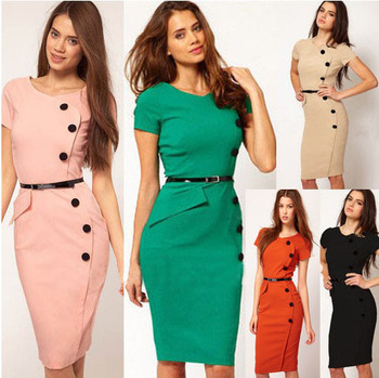 Free Shipping Formal Button Pencil Vintage Pinup Bodycon Fitted Party Shift Sheath Dresses D0013