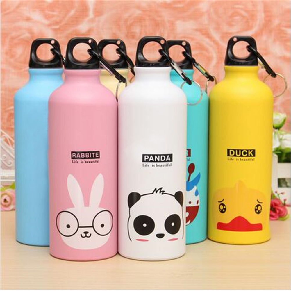 2016 Candy Color 500ML Cute Cartoon Pattern Aluminum Water Bottle Kitchen Accessories(China (Mainland))