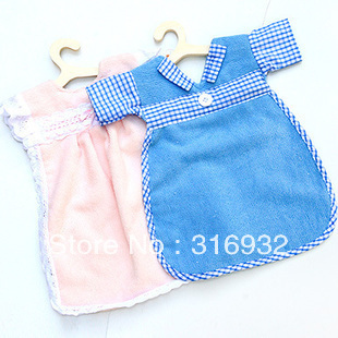 P1 New Arrival! Cotton lovely clothes shapedl cleaning towel, pink and  blue, 4pcs/lot