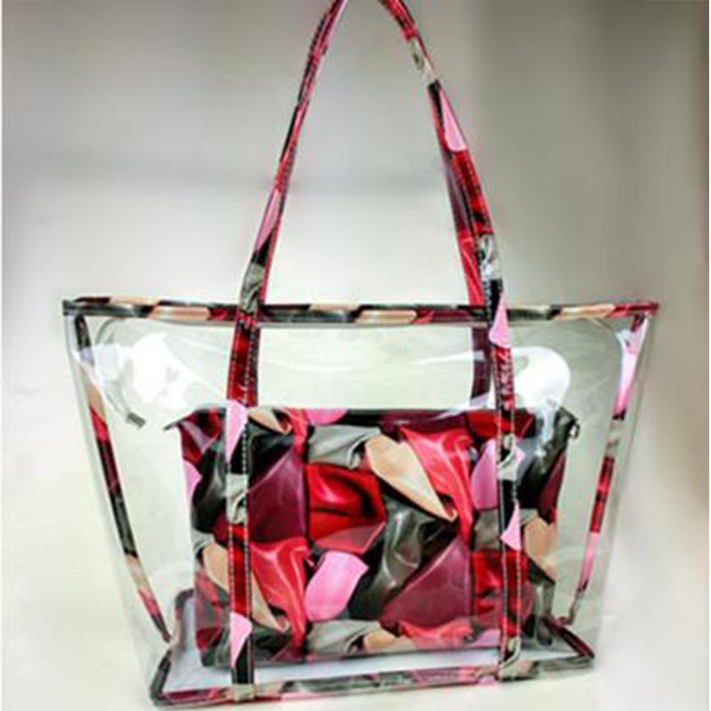 New Women Summer Handbag 2 Pieces/Set Transparent Shoulder Bags PVC Clear Beach Hand Bag Ladies Brand Tote Bags(China (Mainland))