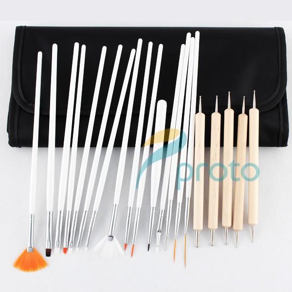 USA Stock 20pcs Nail Art Design Brushes UV Gel Set Nail Tools Painting Draw Pen With Black Roll-up Case Nail Brushes Kit G0149(China (Mainland))