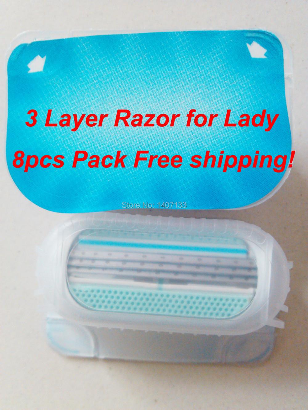 8 pcs/lot Brand New Razor Blades For Women AAAAA Quality Shaving Razor Blades for women Free Shipping (1* 8s)(China (Mainland))