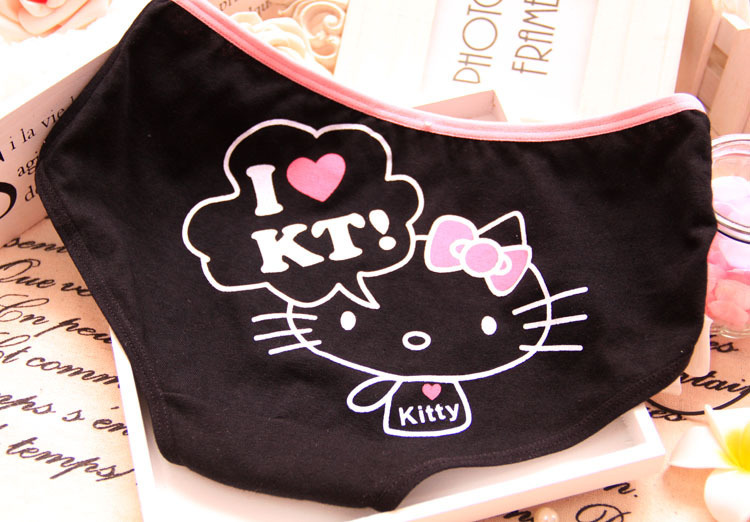 Factory directly hot sale high quality hello kitty underwear pure cotton cute expression women underwear 7010(China (Mainland))