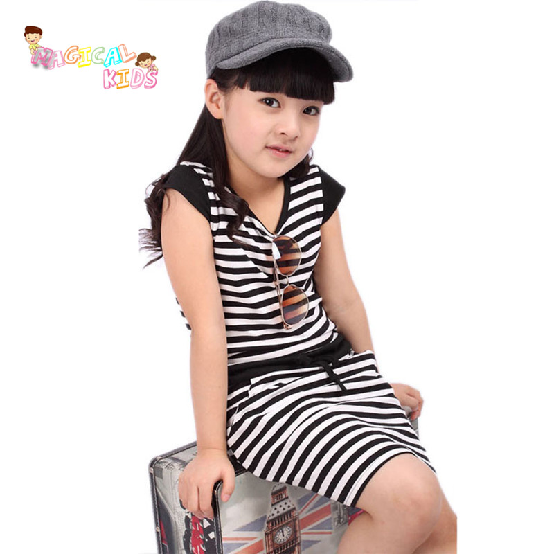Fashion Kids Clothes High Quality Casual Girl Short-sleeve Dress Clothing Children Baby Girls' Cotton Striped Printed Dresses(China (Mainland))