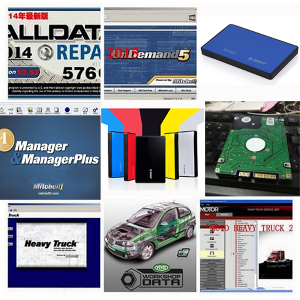 2016 Auto Repair Software Alldata 10.53 +Mitchell on demand 2015 7software in 1tb usb hdd work for all cars and trucks(China (Mainland))