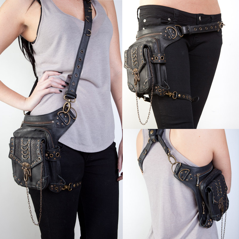 Steampunk Bag Steam Punk Retro Rock Gothic Goth Shoulder Waist Bags Packs Victorian Style for Women Men + leg Thigh Holster Bag(China (Mainland))