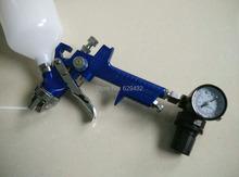 Aire pistola rociadora H827 con regulador 600CC de cup / 1.4 mm / 1.7 mm fluido tip / regulador de aire / presión de ajuste de aire medidor de envío gratis