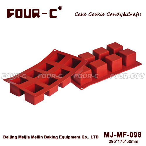 6-Cavity Cuboid Cupcake Baking Tray Candy Jelly Ice Silicone Mould Mold Pudding Molds Baking Pan Tray BakewareTools(China (Mainland))