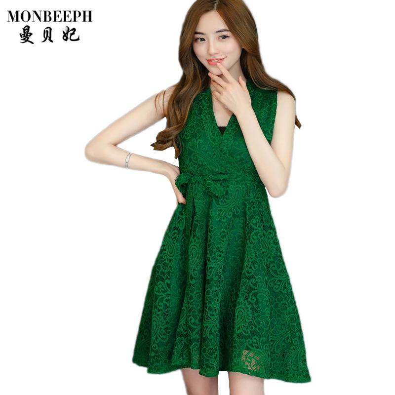 2017 Fashion Women Summer Style Lace Dresses Black Green V- Neck Sleeveless Formal Dresses Bows Club Knee Length Sexy Dresses(China (Mainland))