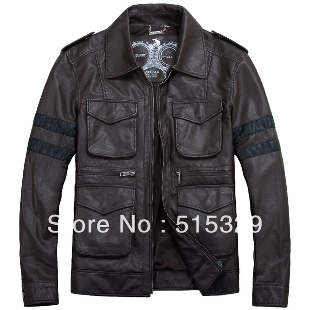 TM201209005 Resident Evil classic leon explosion brown THOOO Gentlemen PU Leather Jacket Coat Motorcycle M L XL 2XL 3XL 4XL 5XL