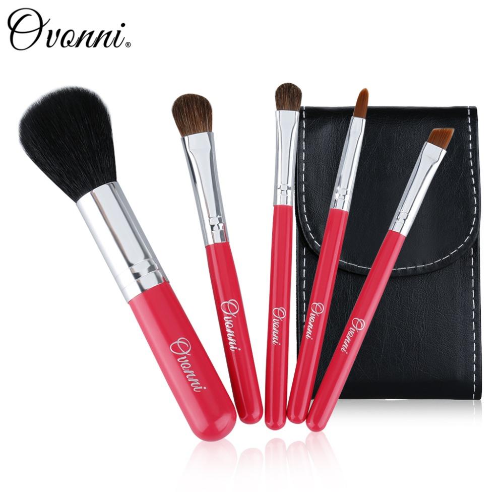 (Clearance) Ovonni 5 Pcs Red Cosmetic Makeup Brush Professional Cute Face Blusher Foundation Lip Eyeshadow Make up Brushes Set(China (Mainland))