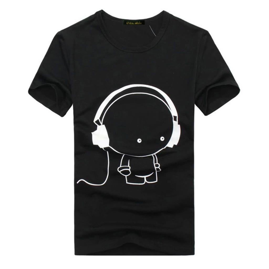 M-XXL Summer Style Headset Cartoon Printed Casual T Shirt Men Brand Tshirt Marcelo Burlon T Shirt  Cotton Short Sleeve Tee Shirt(China (Mainland))