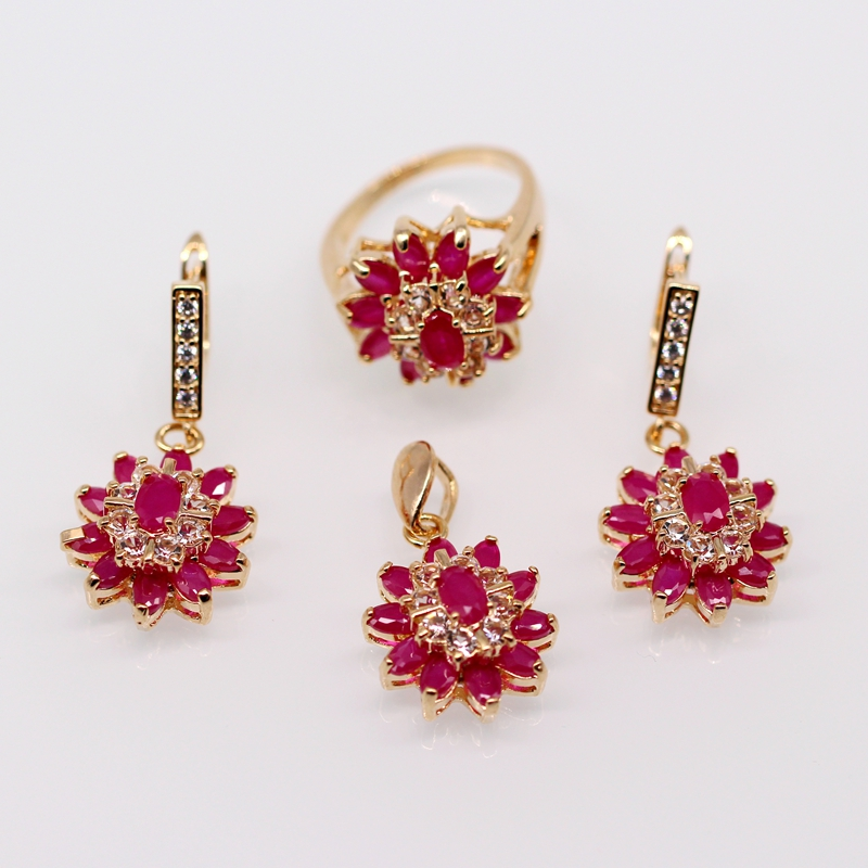 Fashion Jewelry 18k Gold Plated Natural Ruby AAA Cubic Zirconia Flower Nacklace Pendant Earrings Ring Set