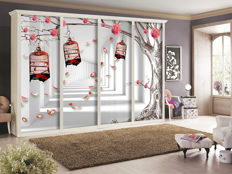 glass film customize stickers sliding door wardrobe window film modern brief bird in cages and. Black Bedroom Furniture Sets. Home Design Ideas