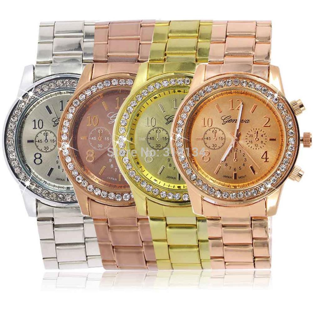 Wholesale Womens Geneva Bling Crystal Stainless Steel Analog Quartz Wrist Watch Unisex <br><br>Aliexpress